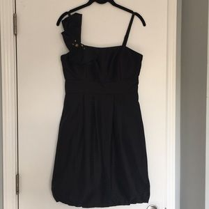 LBD with accent shoulder strap and bubble skirt